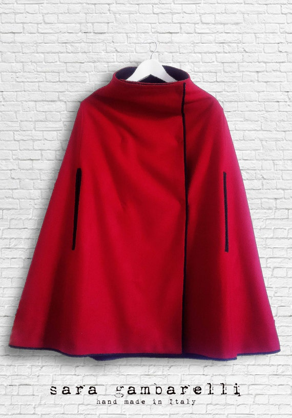 WOOL RED CAPE, double face woman cape, red and black woolen cape, wool women poncho. Nursing cover clothing.