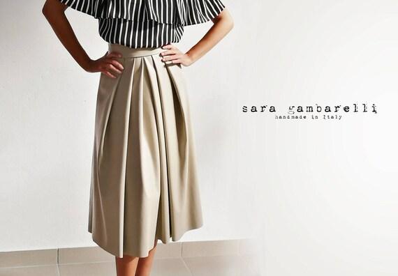 FAUX LEATHER SKIRT, beige pleated midi skirt, ecological leather skirt, eco leather skirt, taupe pleated maxi skirt
