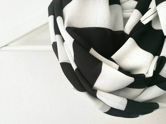STRIPED INFINITY SCARF, white and black scarf, stripes print scarf, spring infinity scarf, cowl scarf, women accessories
