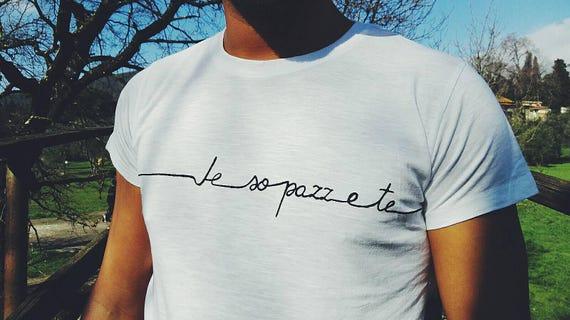 WHITE MEN TSHIRT, Valentine's Day gift for him, personalised tshirt for men, italian quote man tshirt, customized handpainted white tshirt