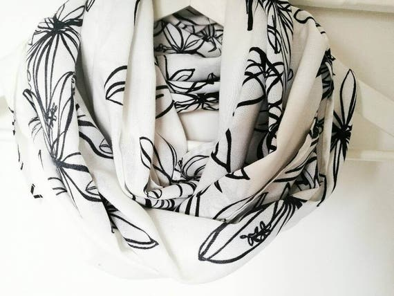 WHITE INFINITY SCARF, flower print scarf, white and black  scarf, spring cowl scarf, women accessories