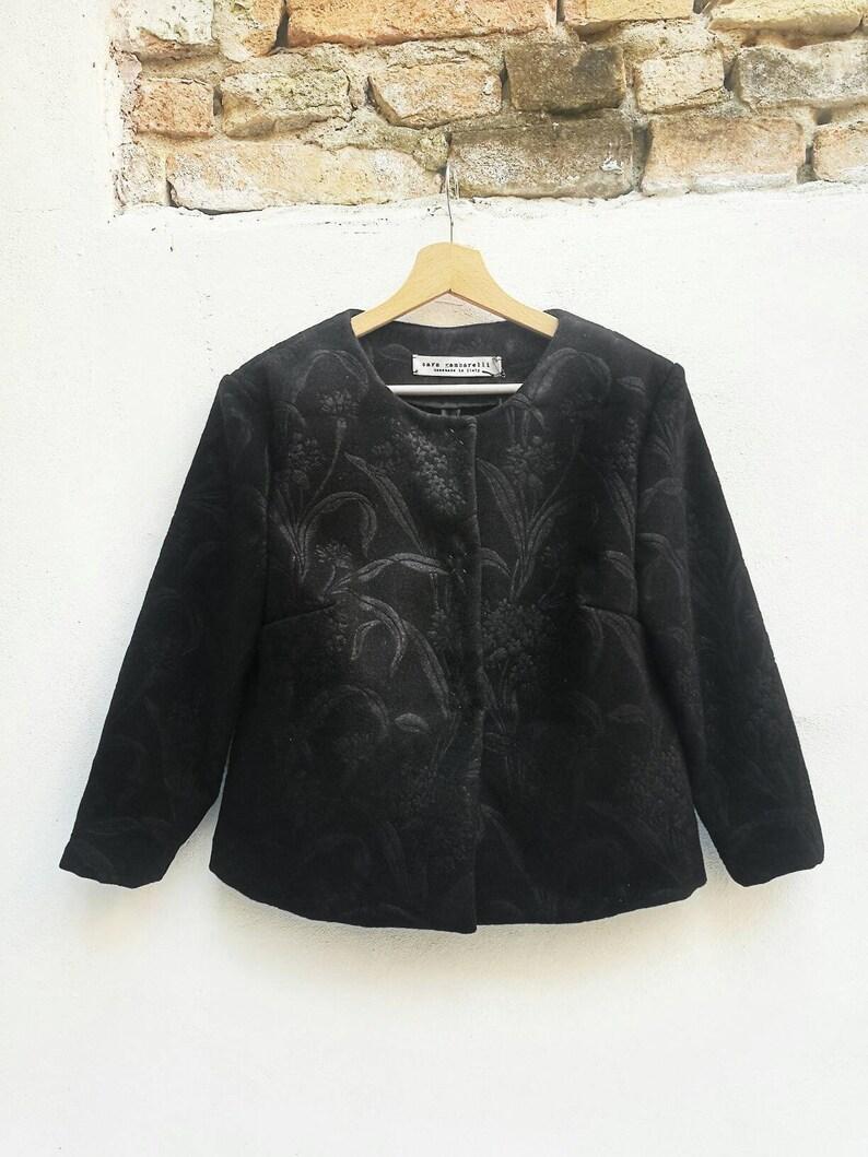 size 40 fc608 6bd4b BOLERO SFODERATO NERO, giacchino corto nero, giacca in lana con manica a  tre quarti, cappottino corto nero, giubbino nero elegante