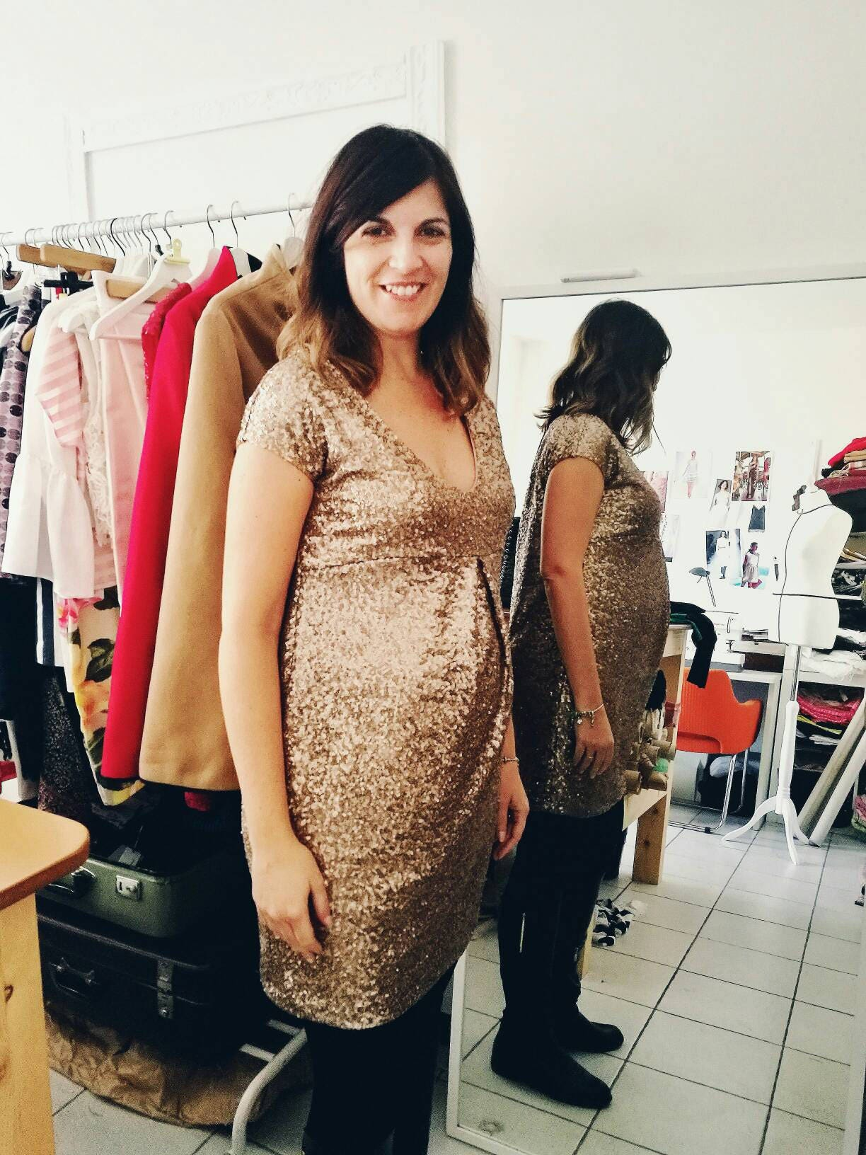 Pregnant Gold Dress Maternity Evening Dress Baby Shower