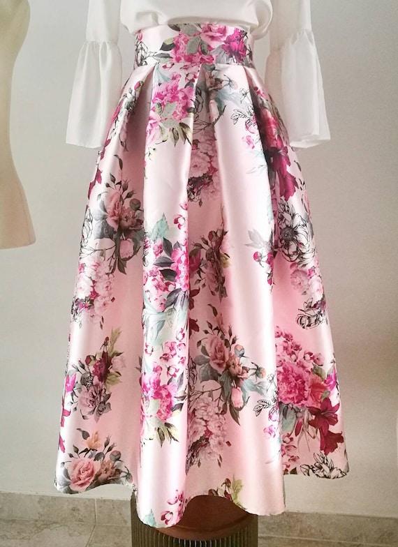 PINK PLEATED SKIRT, colorful floral print tea length formal skirt