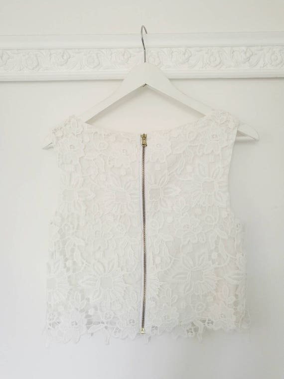 9a5ddc93d55 LACE CROP TOP, macrame bridal top, white lace crop top, cotton lace top,  boho bride top, bohemian lace top, boho Coachella top