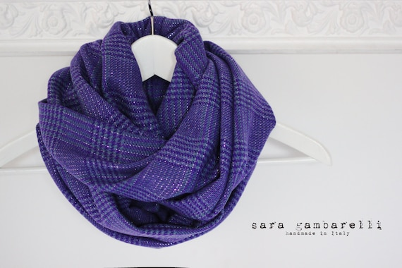 ULTRA VIOLET SCARF, purple infinity scarf, plaid circle scarf, chunky scarf, purple cowl scarf, gift idea for women