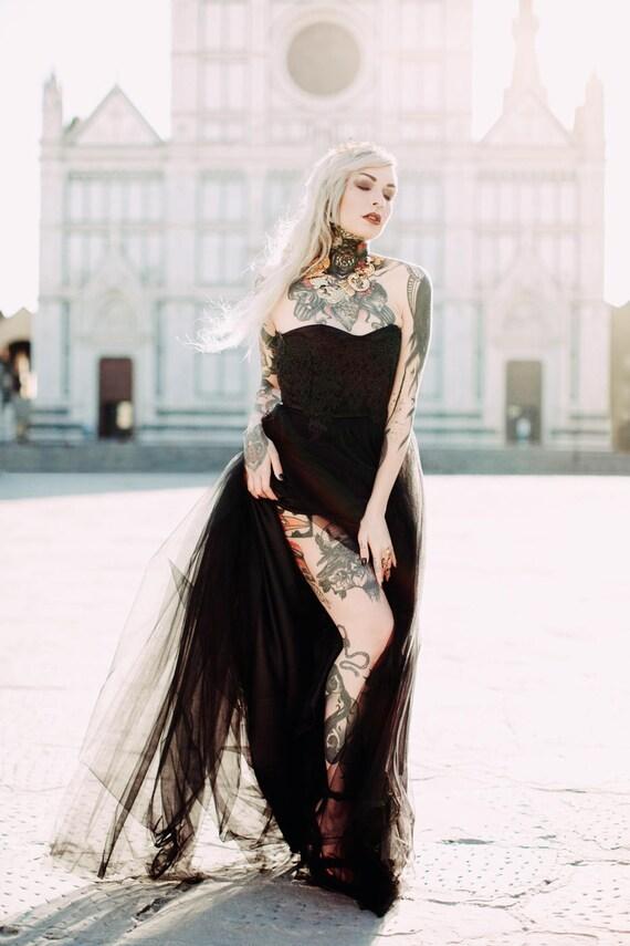 Black Wedding Dress Alternative Wedding Dress Sweetheart Etsy