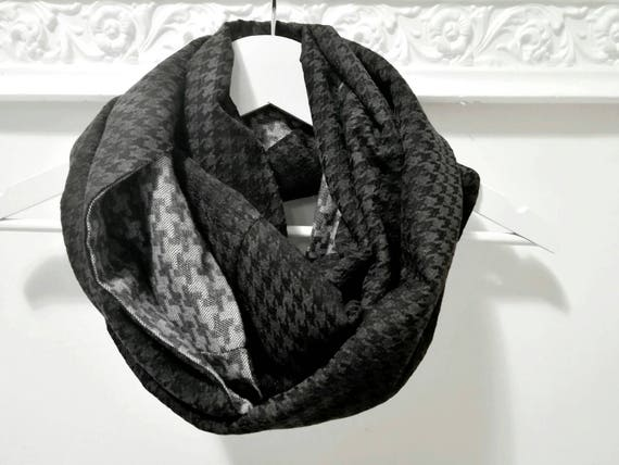 BLACK INFINITY SCARF, black chunky scarf, grey tweed scarf, black gray cowl scarf, houndstooth circle scarf, men scarf, gift idea for him