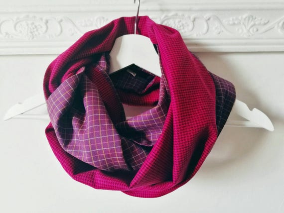 CHUNKY PLAID SCARF, fuchsia infinity scarf, purple circle scarf, pink cowl scarf, fuschia infinity scarf, violet scarf, gift idea for her