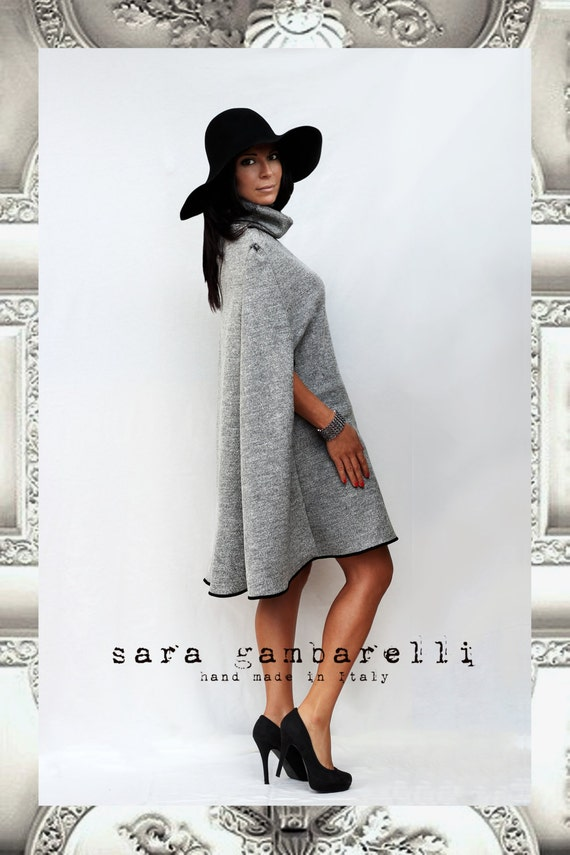CARDIFF cape. Cozy women cape for winter, grey woolen cape, handmade, custom made, made to order