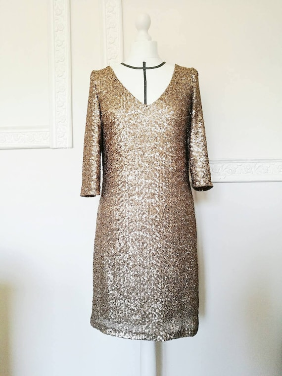 GOLD SEQUIN DRESS with sleeves, New Year's Eve sequined dress with 3/4 sleeve, A - line evening dress, gold tunic dress, V neck short dress