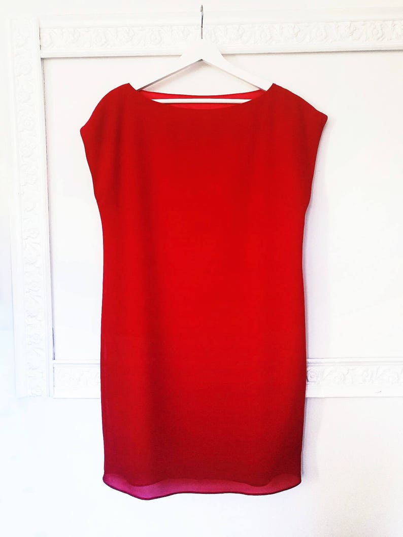 Rode Tuniek Jurk.Rode Tuniek Dress Rode De Verschuiving Jurk Avond Korte Etsy