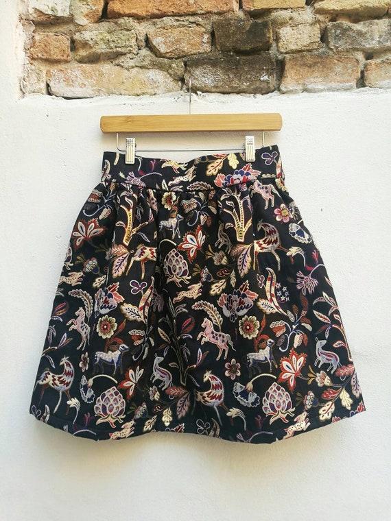 BLACK JACQUARD SKIRT, black evening skirt, high waisted skirt, ruffle skirt, short formal skirt, Christmas skirt women, black party skirt