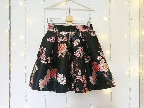BLACK PLEATED SKIRT, floral cocktail skirt, flower print skirt, japanese pleated skirt, black party skirt, high waisted elegant skirt