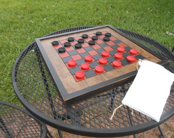Wood Checkerboard with Checkers-Black and Red Wood Checkerboard-Checkerboard Game-Checkerboard Wall Art-Checkered Game Board