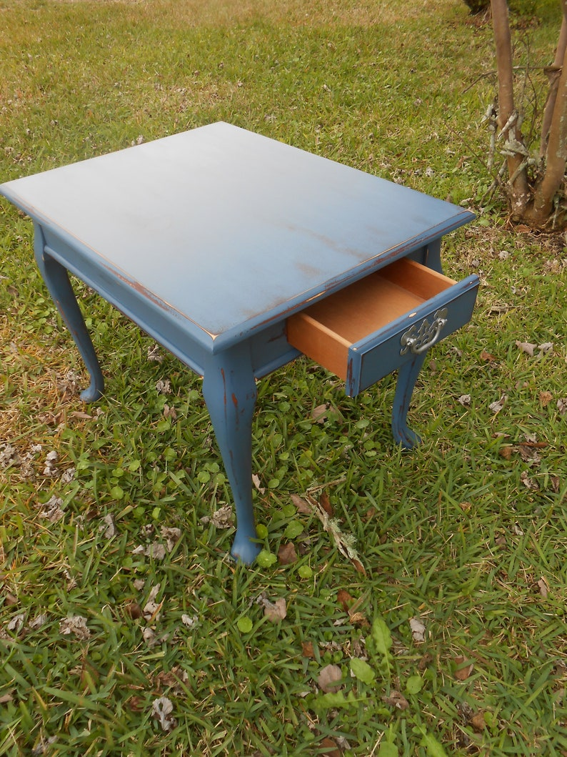 Blue End Table Queen Anne End Table Nightstand Painted And Distressed Navy  End Table Wood End Table Refinished End Table Blue End Table