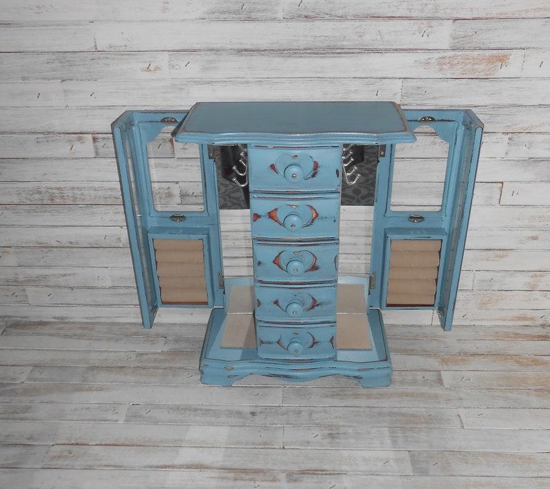 Blue Jewelry Box-Vintage Wood Jewelry Box-Jewelry Box-Jewelry Storage-Painted Jewelry Box-Lg Jewelry Box-Blue Distressed Jewelry Box-Jewelry