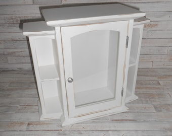 Small White Cupboard-White Distressed Storage Cupboard-Display Cabinet-Wall Mount or Table Storage Cupboard-Display Cupboard