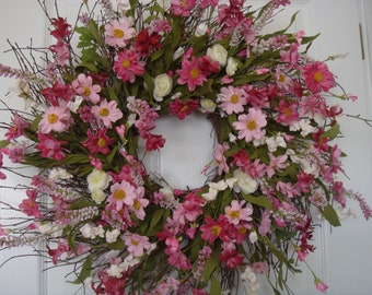 Summer wreath, spring wreath, front door wreath, housewarming gift, outdoor wreath, floral wreath, summer decor, pink wreath, cottage wreath