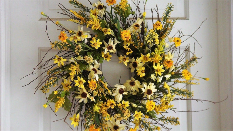 Spring Wreath Front Door Wreath Sunflower Wreath Floral Etsy