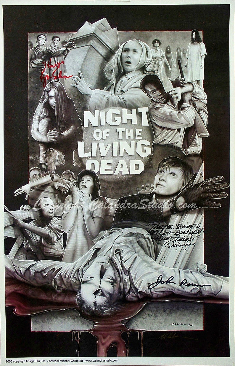 Night of the Living Dead - Cast Signed 11x17 Print