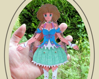 Hazel Articulated Paper Doll, Printable PDF, You Color