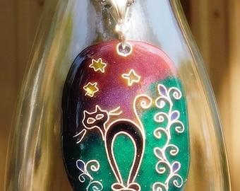 Midnight Stroll – Enamel Pendant/Fantasy Symbolic/Magic Jewelry/Gift for her/OOAK/Handmade Jewelry/Night/Black Cat/Angry Cat