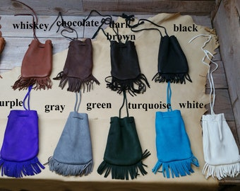 40505f71f58a9 Deerskin leather medium medicne pouch with fringe / soft & supple / marble  or dice bag C-9
