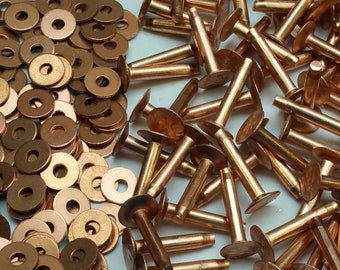 """Copper Rivets /& Burrs 1//2/"""" Leather Craft Belt SCA Luggage Hardware Accessories"""
