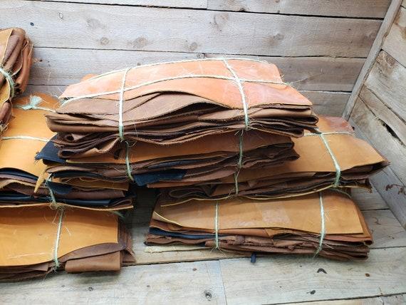 Cowhide Remnant Scraps Oil Tanned Scrap Leather 4-6oz  B14-box 38