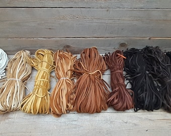 Deerskin Leather Lace Bundle - 1/8in OR 1/4in Wide x 3ft Long Lacing Cord String Craft F1- Great for Jewlery!