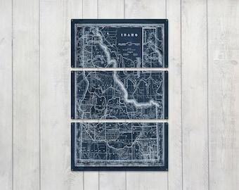 "Vintage Idaho METAL Map Blueprint Triptych 24x36"" FREE SHIPPING"