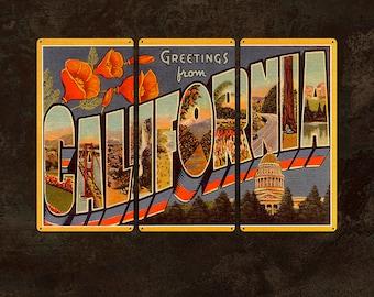 "Vintage California Postcard METAL triptych 36x24"" FREE SHIPPING"
