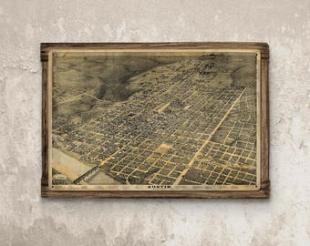 Austin Texas Vintage Map on Barnwood Frame FREE SHIPPING