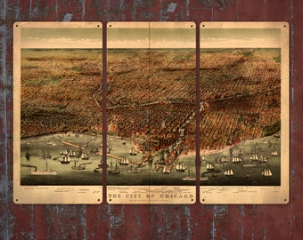 """Vintage Map of Chicago METAL triptych 36x24"""" Triptych FREE SHIPPING"""