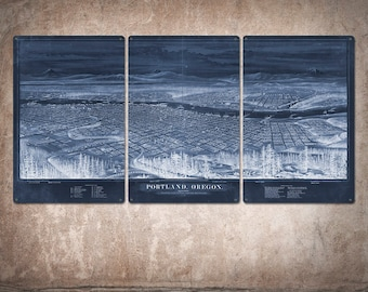 """Vintage Map of Portland METAL Triptych 48x24"""" FREE SHIPPING (Blue version)"""
