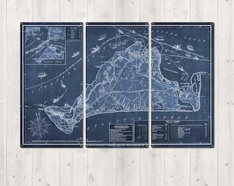 Martha's Vineyard METAL Blueprint Triptych FREE SHIPPING