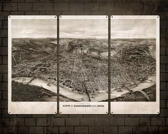 "Vintage Map of Cincinnati on METAL Triptych 36x24"" FREE SHIPPING"