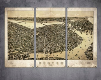 """Vintage Map of Boston METAL Triptych 36x24"""" FREE SHIPPING"""