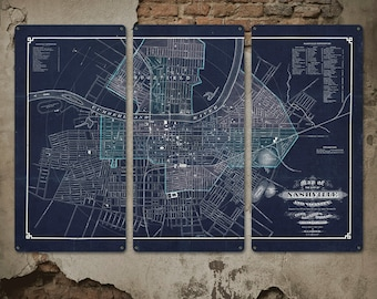 """Vintage Map of Nashville on METAL Triptych 54x36"""" FREE SHIPPING"""