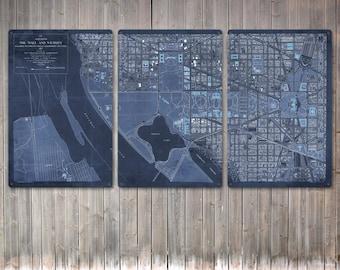 "Vintage Washington DC Mall METAL triptych 60x30"" FREE Shipping"