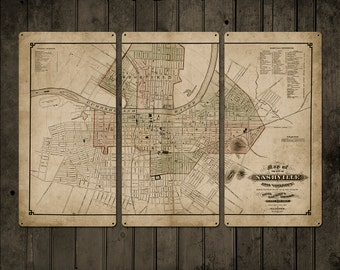"""Vintage Map of Nashville METAL Triptych 36x24"""" FREE SHIPPING"""