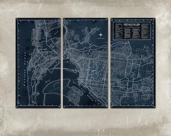 "Vintage San Diego METAL Street Map Triptych 36x24"" FREE SHIPPING"