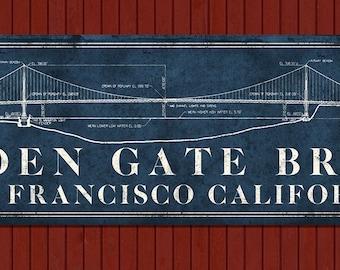 "Vintage Golden Gate Bridge METAL Blueprint 24x8"" FREE SHIPPING"