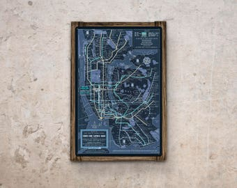 New York Subway Map with Barnwood Frame FREE SHIPPING