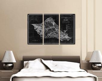 "Vintage Oahu Hawaii METAL Map Triptych 36x24"" FREE SHIPPING"