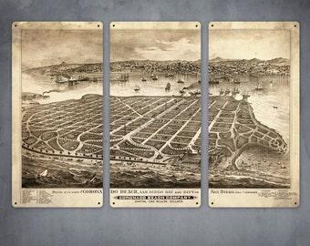 "Vintage Map of Coronado San Diego METAL Triptych 36x24"" FREE SHIPPING"