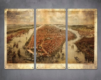 "Vintage Map of New York 1866 on METAL Triptych 36x24"" FREE SHIPPING"