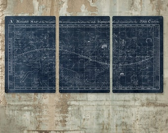"""Vintage Map of the Universe on METAL triptych 72x36"""" FREE SHIPPING"""