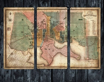 """Old Map and Plan of Baltimore METAL triptych 36x24"""" FREE SHIPPING"""